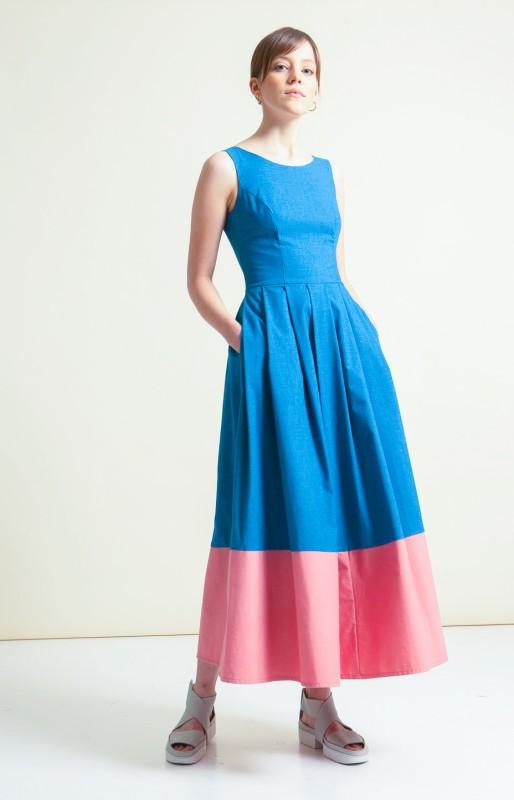 Panel Maxi dress pink