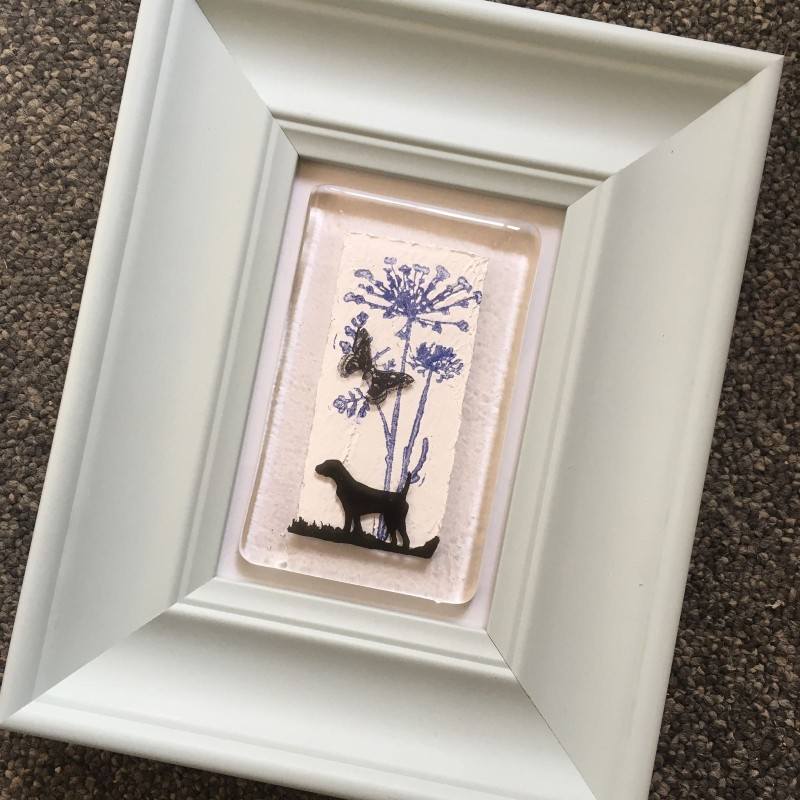 Fused glass pointer  in duck egg blue frame