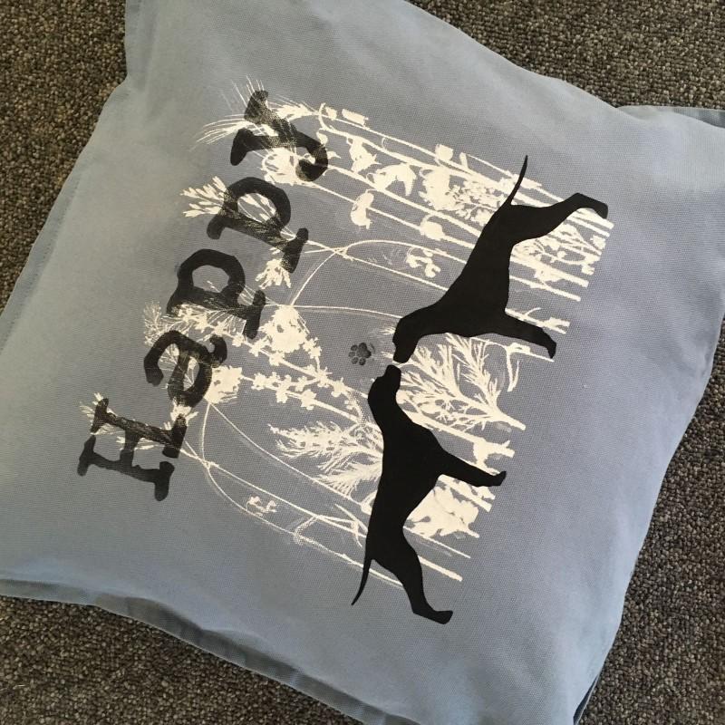 Happy pointer grey blue cushion