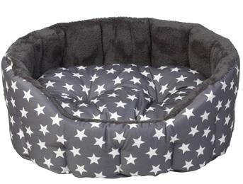 House of Paws grey stars oval bed