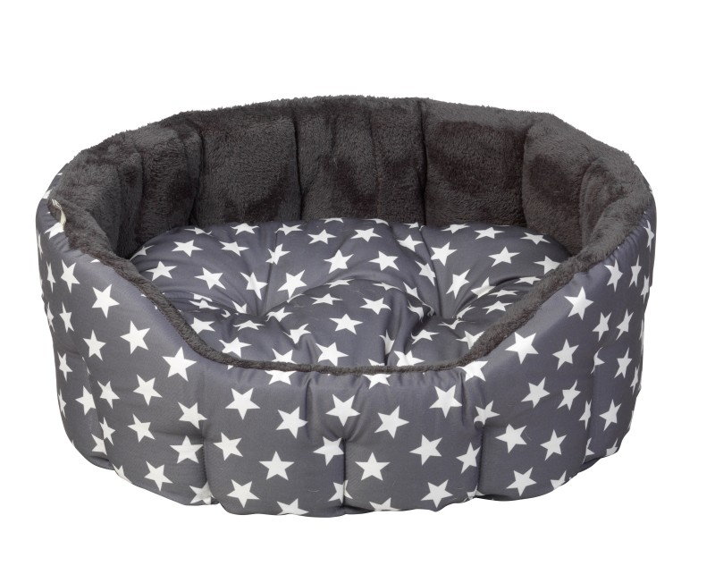 House of paws grey stars oval bed (medium)