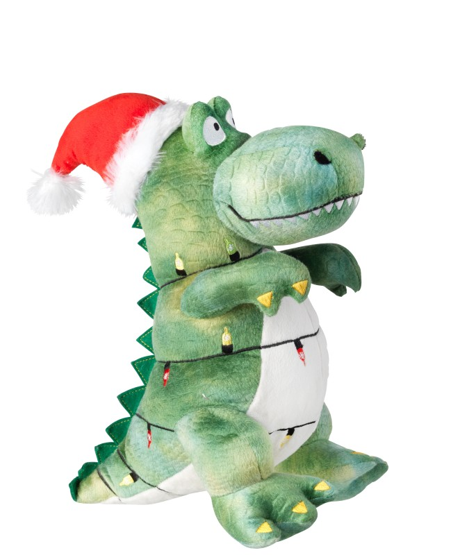 Gift wrapped Festive T-rex toy