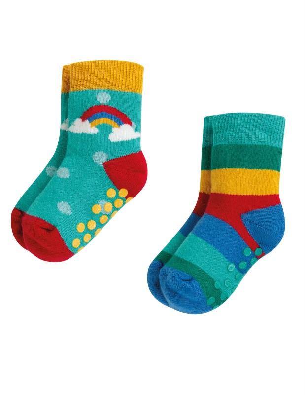 Frugi Grippy Socks, 2pk Rainbow