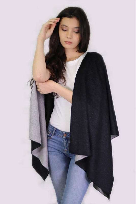 Reversible 2 Tone Cape - Grey/Black