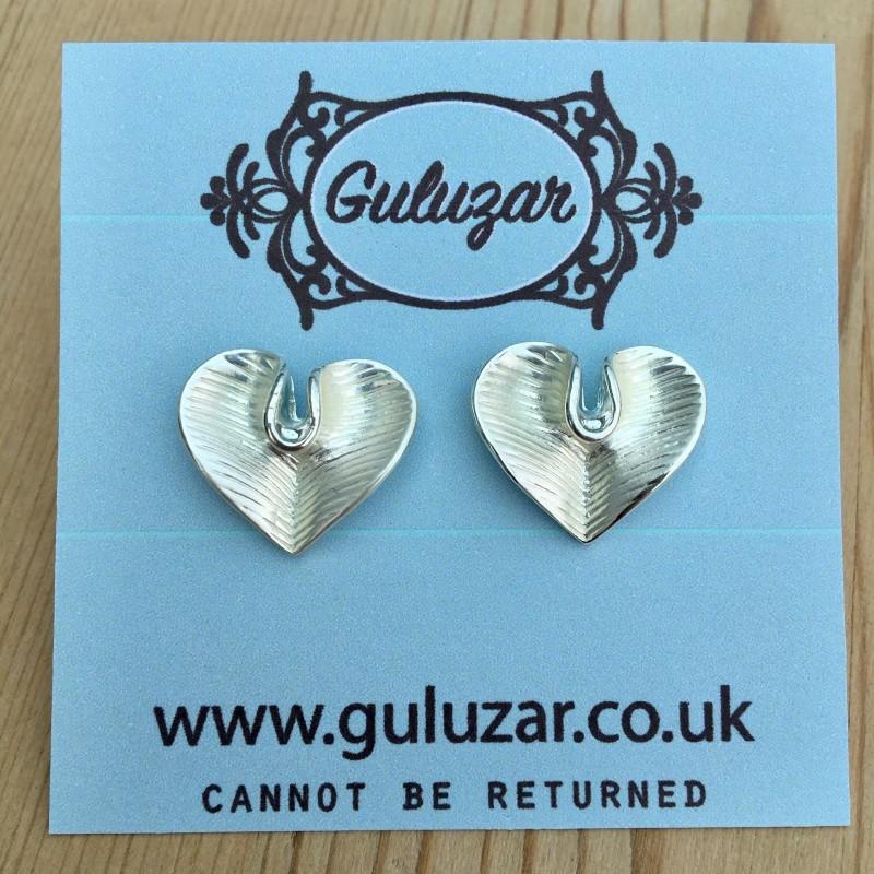 Lily Heart Earrings - Silver