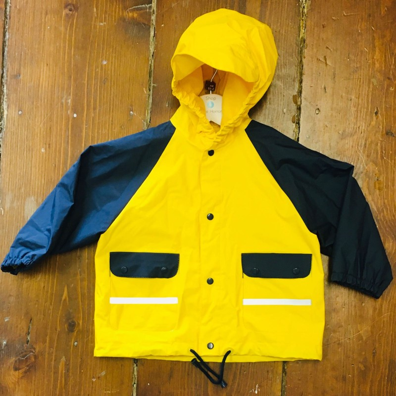 BOB DER MAR YELLOW/NAVY HOODED ANORAK 1-2YRS