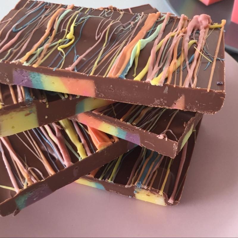 Milk Chocolate Rainbow Fudge Slab