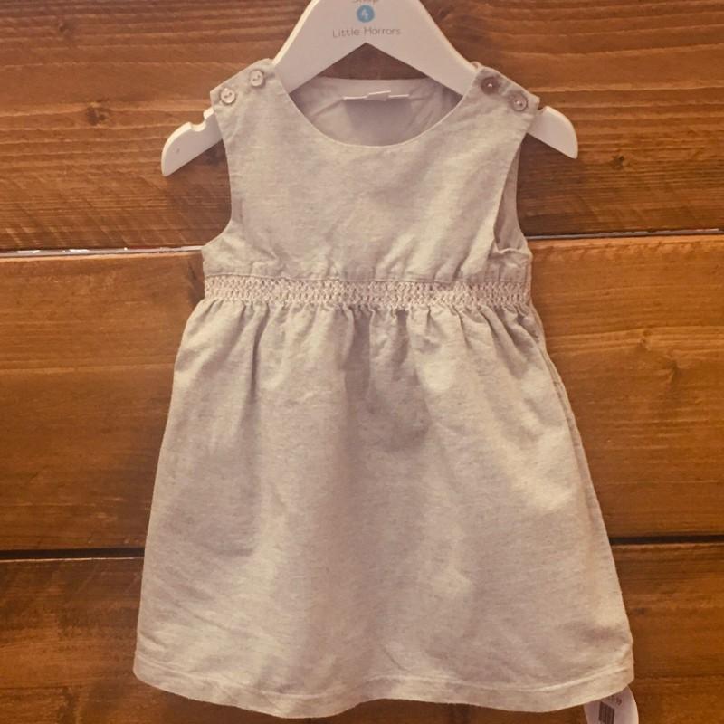 LITTLE WHITE COMPANY GREY SLEEVELESS DRESS 12-18M