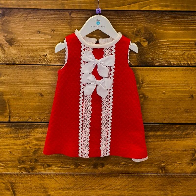 MIRANDA DRESS RED/WHITE BOW 2YR