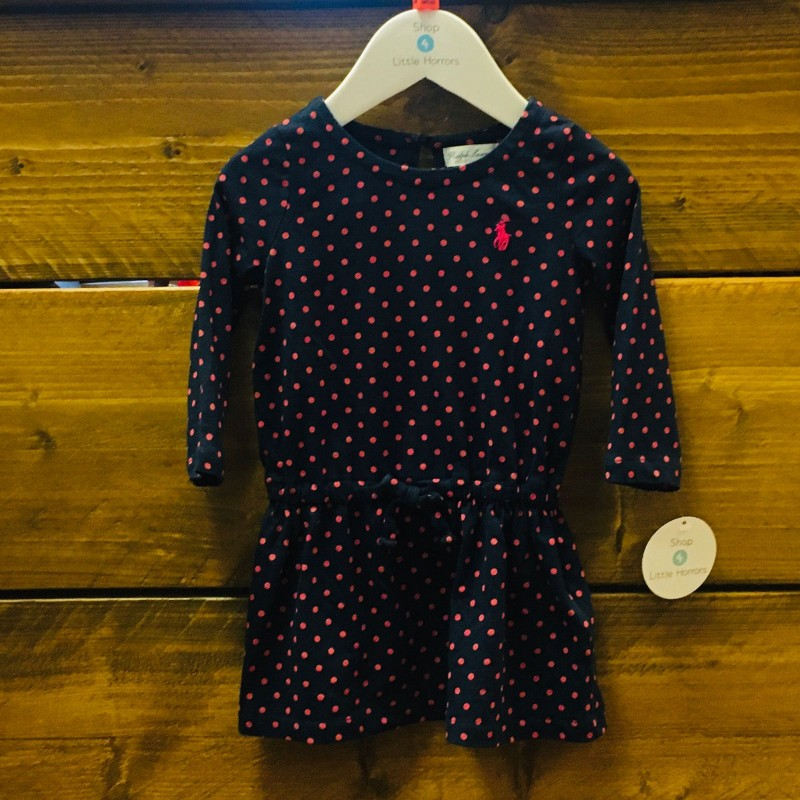 RALPH LAUREN DRESS/KNICKERS PURPLE/PINK SPOT 9M
