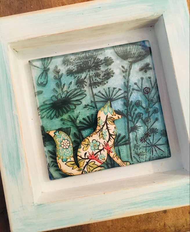 Foxy in the meadow fused glass in wooden frame 12cmx12cm