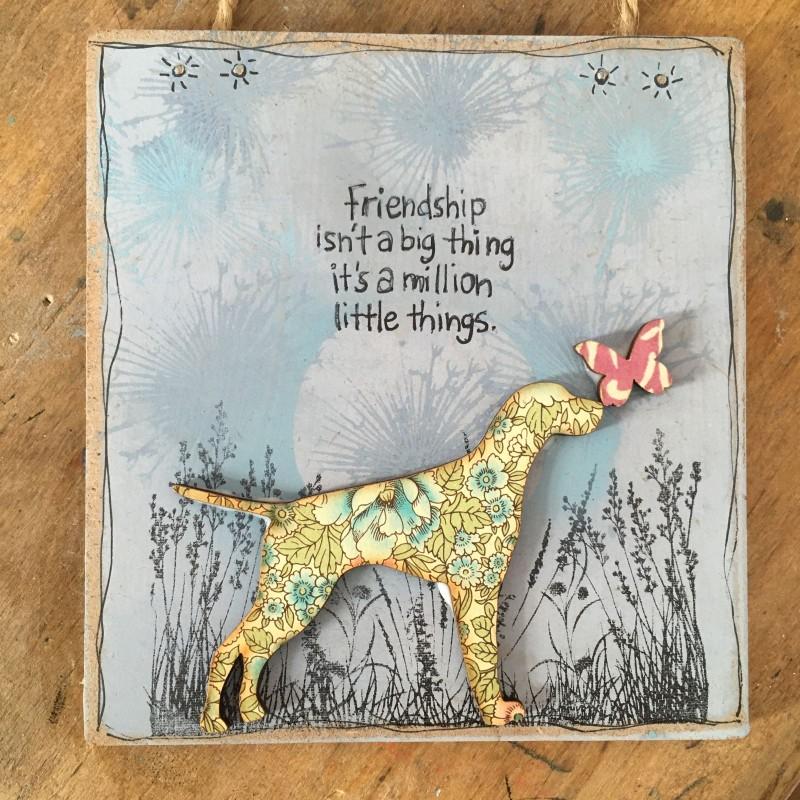 Wooden plaque friendship/ dog 10.5x 11.5cm