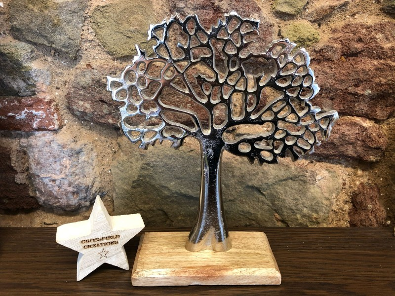 Metal Tree on Wooden Base