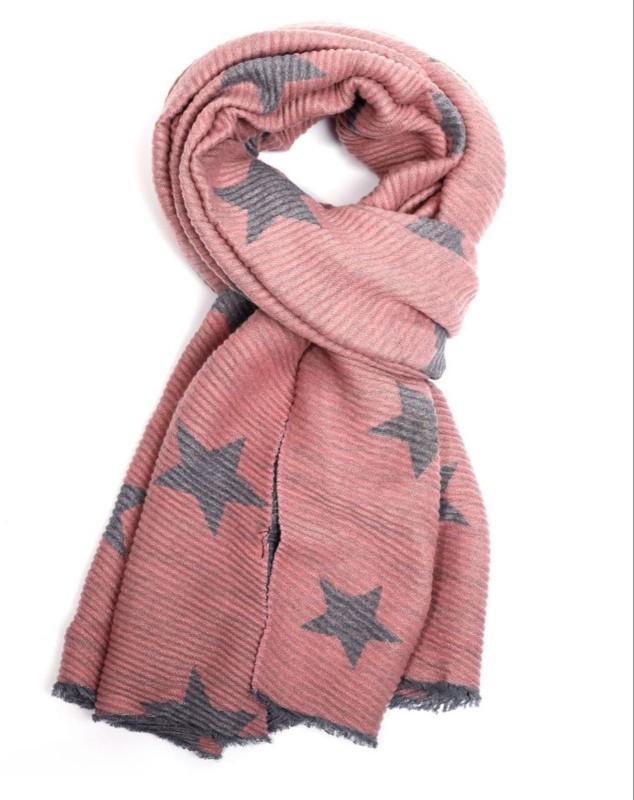 Pleated Chunky Scarf Stars - Dusky Pink/Grey