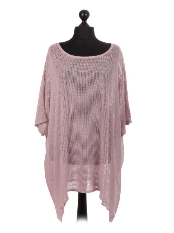 Italian Cotton Mesh Net Batwing Top - Blush Pink