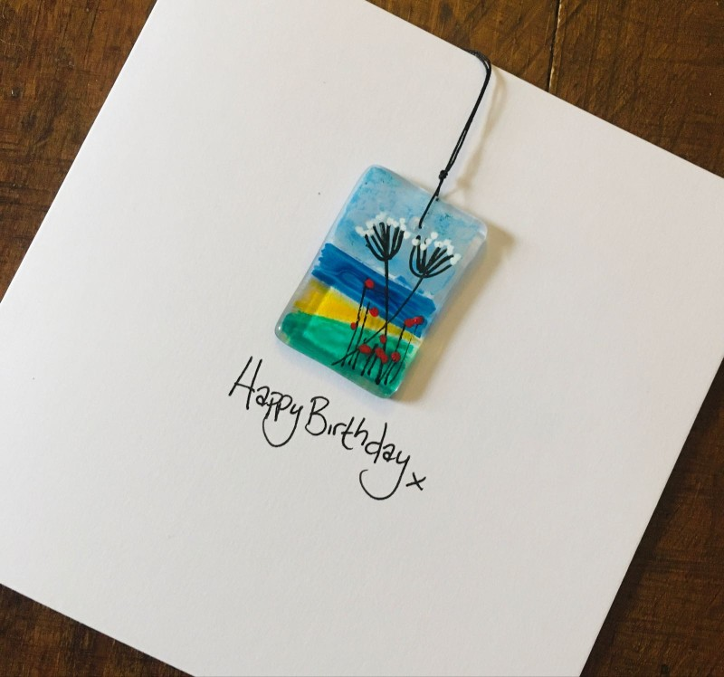 Greeting card with detachable hanging fused glass keepsake. Hand painted seascape