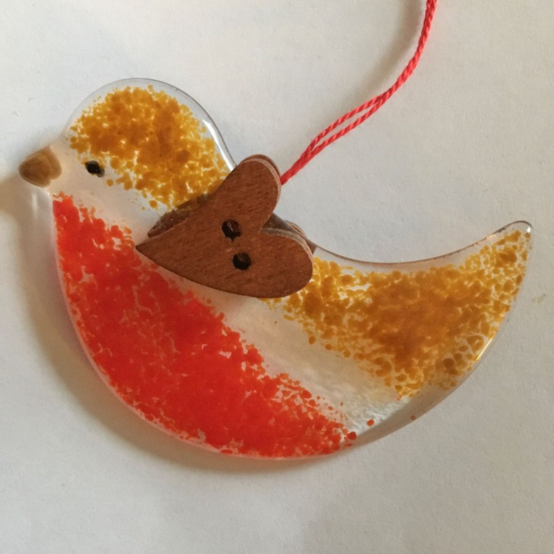 Fused glass robin decoration with heart button wings on both sides