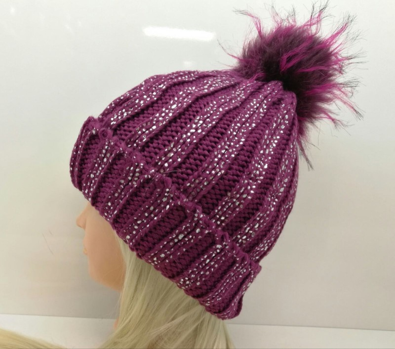 Chunky Knit Fleece Lined Hat - Purple with Silver Glitter