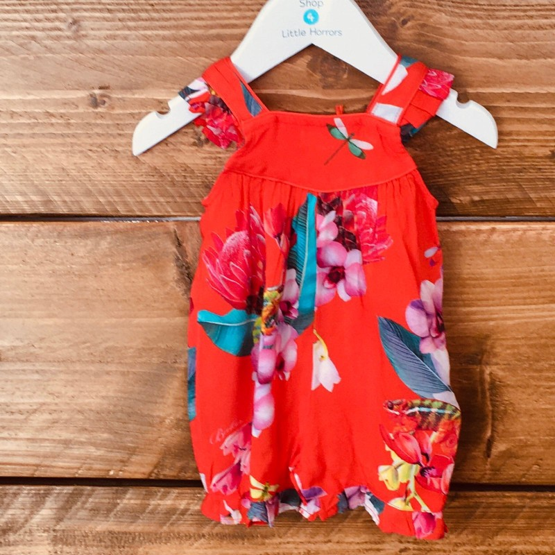 TED BAKER RED COLOURFUL PLAYSUIT BNWT 0-3M