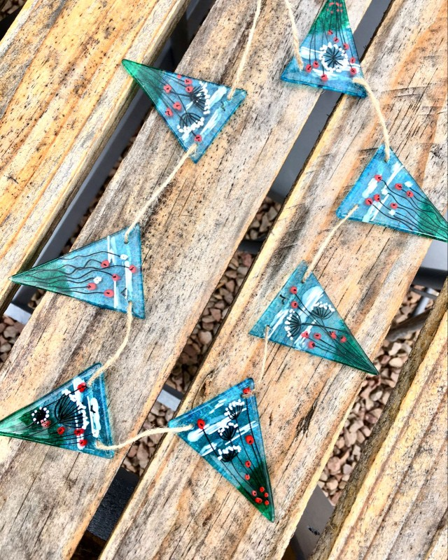Hand painted fused glass meadow bunting 2m