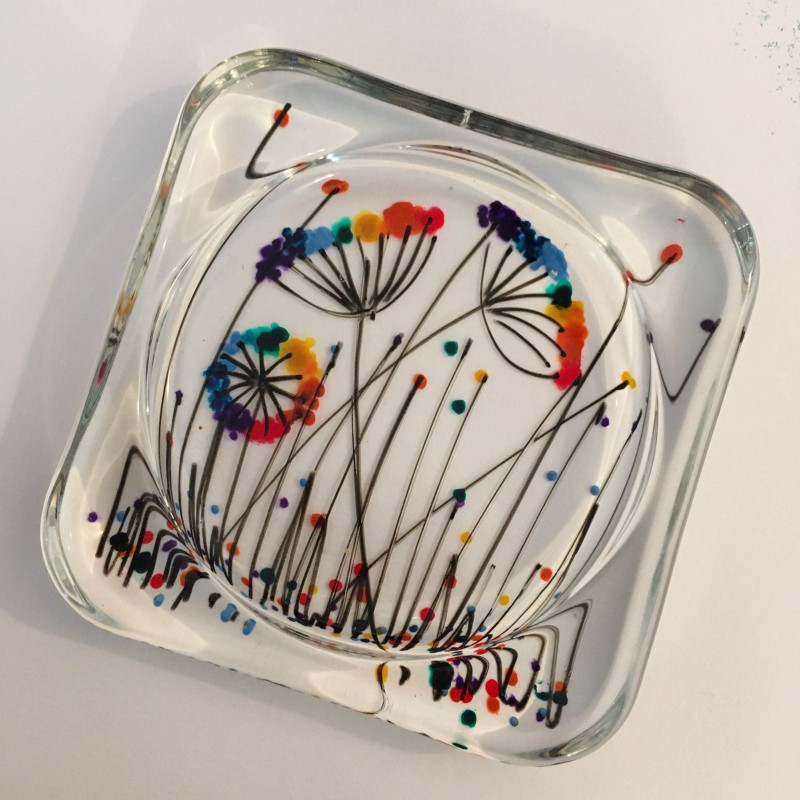 Hand painted rainbow cow parsley glass coaster