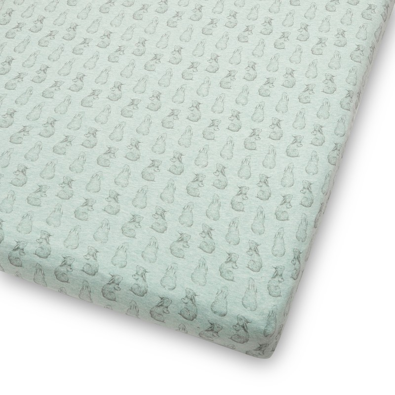 The Little Green Sheep Wild Cotton Organic Cot & Cot Bed Fitted Sheet - Rabbit