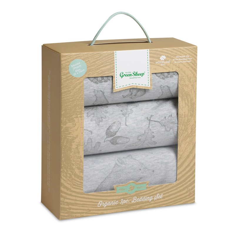 The Little Green Sheep Wild Cotton Organic 3pc. Moses/Pram Bedding Set - Bear