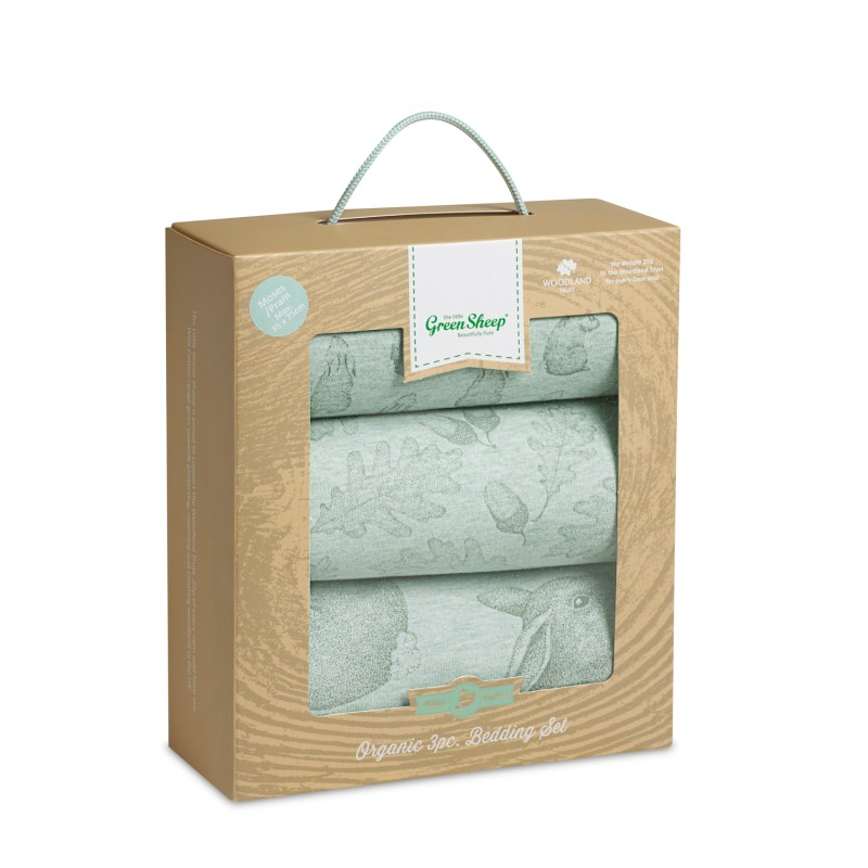 The Little Green Sheep Wild Cotton Organic 3pc. Crib Bedding Set – Rabbit
