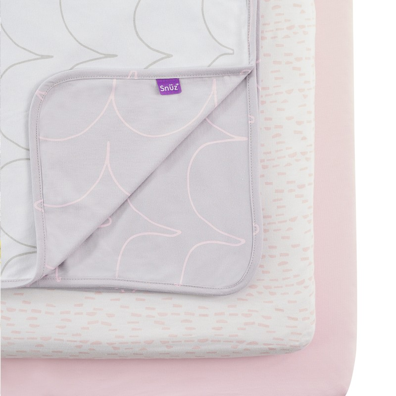 Snuz 3pc. Bedside Crib Bedding Set -Wave Rose