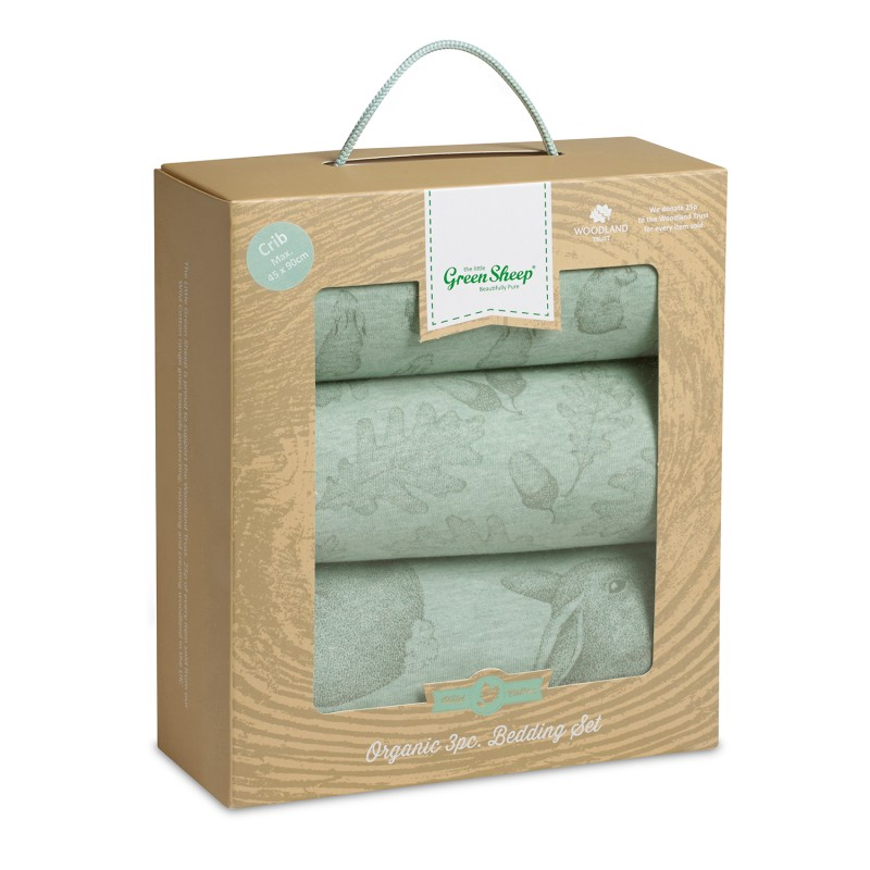 The Little Green Sheep Wild Cotton Organic 3pc. Moses/Pram Bedding Set - Rabbit