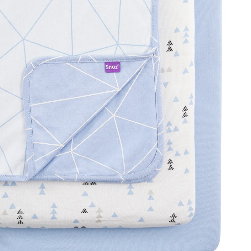 Snuz 3pc. Bedside Crib Bedding Set - Geo Breeze