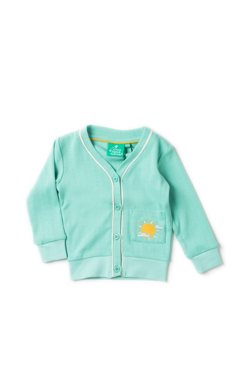 LGR- Pointelle pale turquoise cardigan