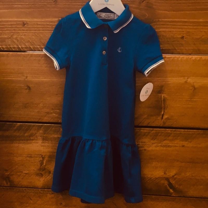 PETIT BATEAU BLUE POLO DRESS 5YRS