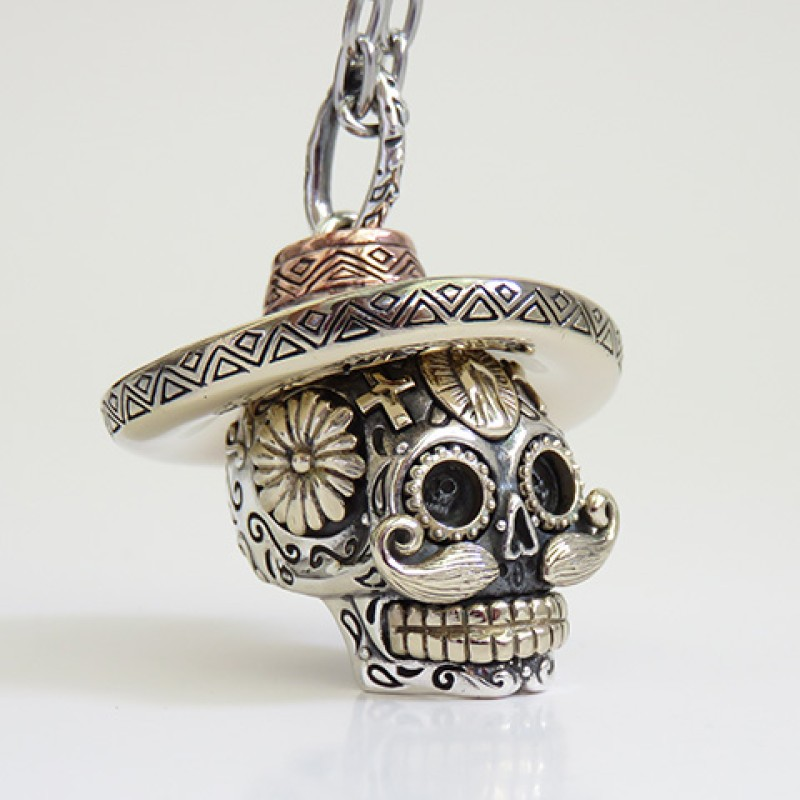 Silver Mexican Sugar Skull Pendant