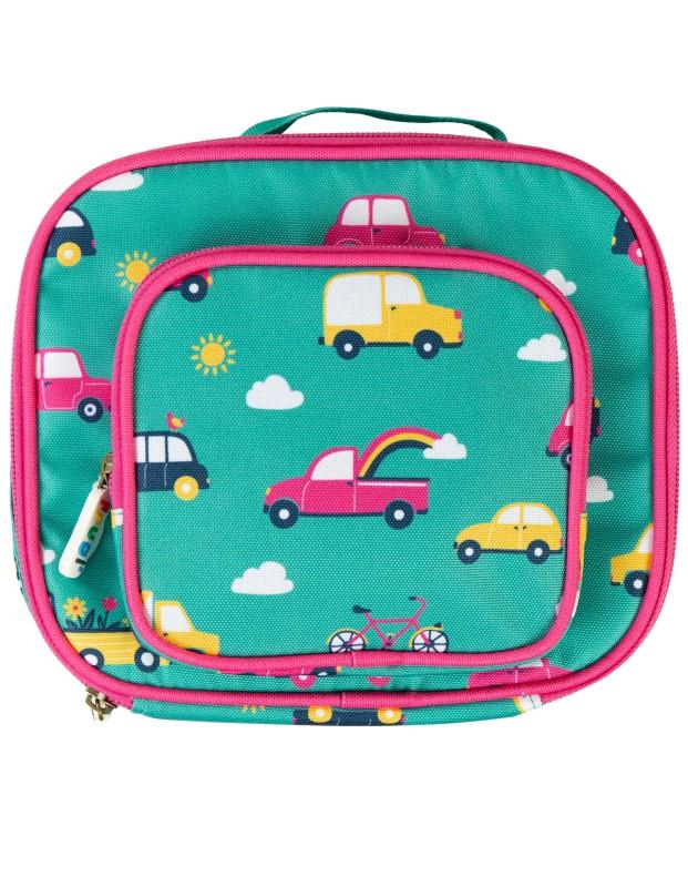 Frugi Pack a Snack Lunch Bag Aqua Rainbow Roads