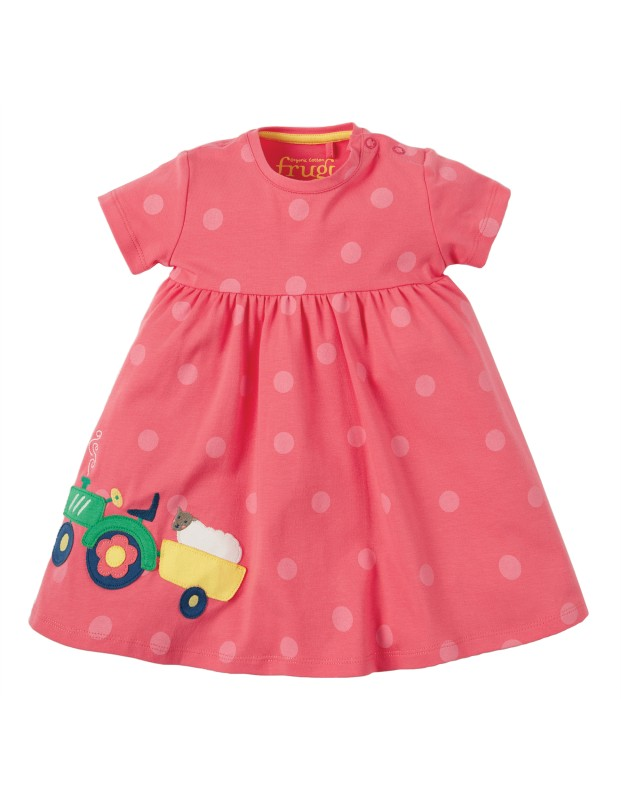 Frugi Jade Jersey Dress, Coral/Tractor