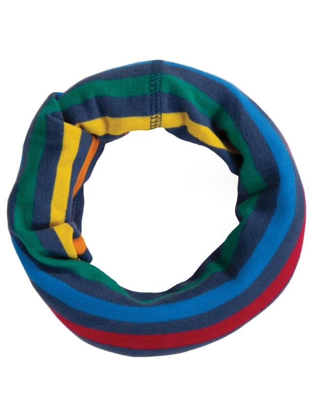 Frugi Cosy Rib Snood, Rainbow Stripe