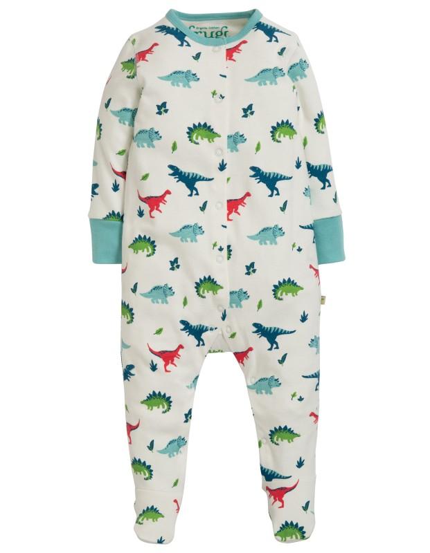 Frugi Lovely Babygrow, Aqua Dino Field