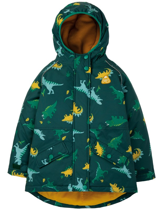 Frugi Explorer Waterproof Coat, Giant Dino Field
