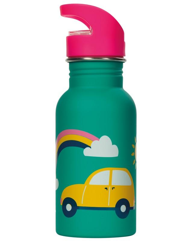 Frugi Splish Splash Steel Bottle Aqua Rainbow Roads