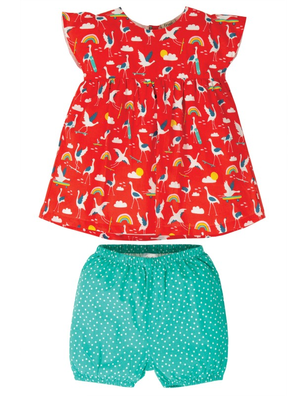Frugi Waterfall Woven Outfit, Skateboarding Cranes