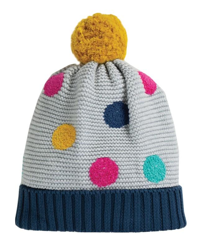 Frugi Evie Embroidered Bobble Hat Grey Marl Multi Spot
