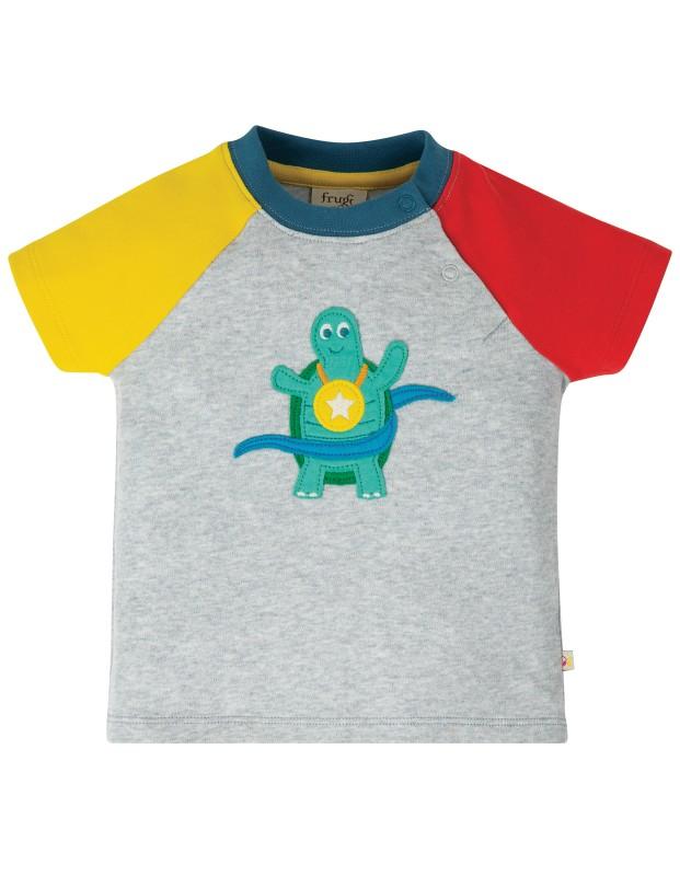Frugi Renny Raglan Top, Grey Marl, Turtle
