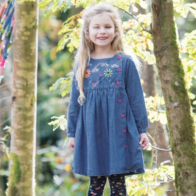Frugi Chambray Embroidered Dress