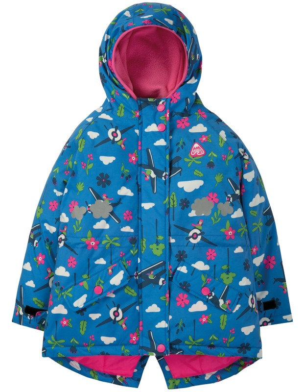 Frugi Explorer Waterproof Coat. Sail Blue Fly High