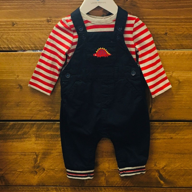 BLUE ZOO NAVY SLIGHTLY PADDED DUNGAREES AND RED/GREY STRIPE BODYSUIT BNWT 3-6M