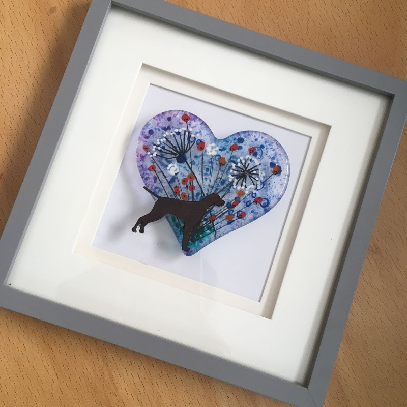 Fused glass hand painted heart and pointer frame