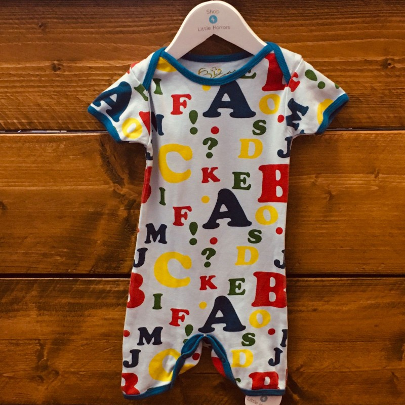 BLUE WITH LETTERS ROMPER 12-18M