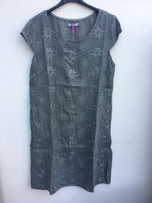 Embroidered Linen Floral Dress - Khaki