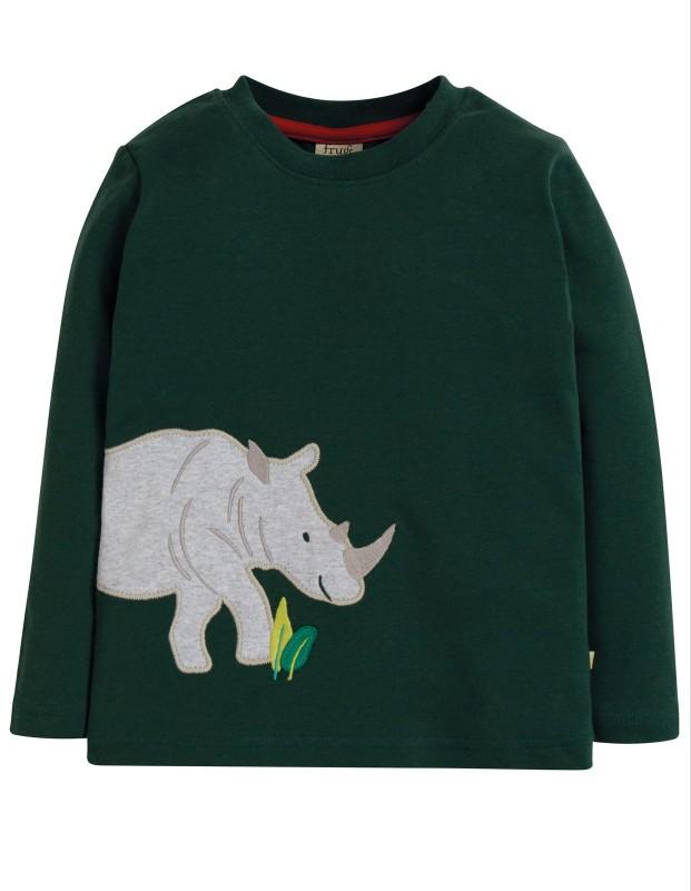 Frugi Joe Appliqué Top Fir Tree Rhino